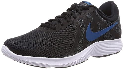 8835f71079948 Nike Men s Zapatillas de Running Revolution 4 EU Black Green Abyss Dark  Grey Wh Shoes
