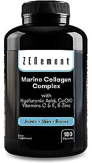 Colágeno Marino Hidrolizado Magnesio Acido Hialurónico Vitamina C Suplemento Articulaciones, Piel Huesos. Colageno PEPTAN 90 Cápsulas de Clorofila. Alta Concentración Fabricado CE.N2 Natural Nutrition: Amazon.es: Salud y cuidado personal