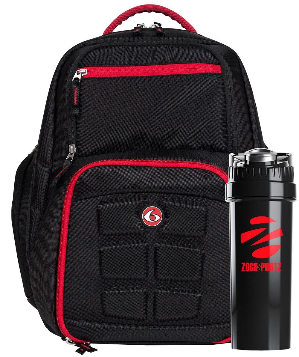 6 Pack Fitness Expedition Backpack W/ Removable Meal Management System 300 BlackRed w/ Bonus ZogoSportz Cyclone Shaker by 6 Pack Fitness