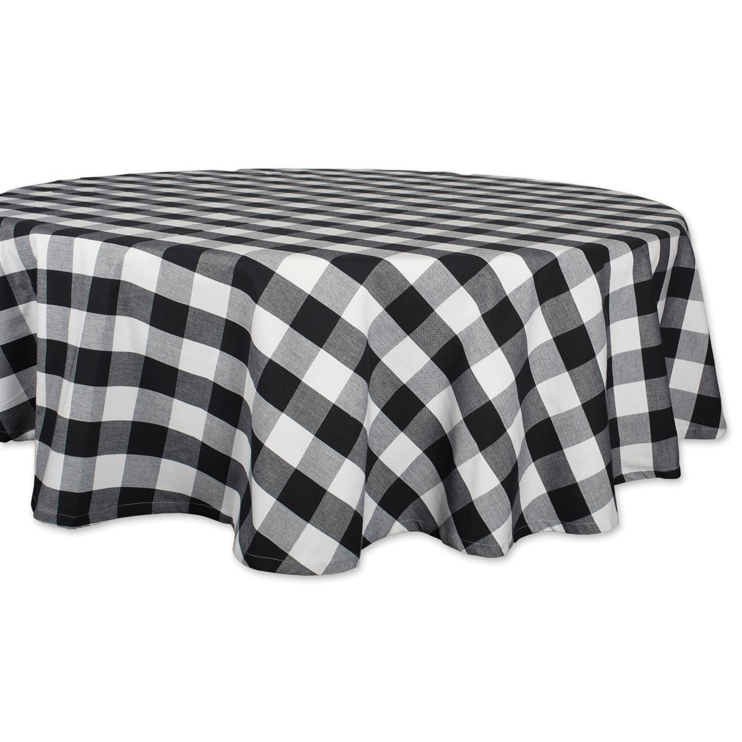 """DII Cotton Buffalo Check Plaid Round Tablecloth for Family Dinners or Gatherings, Indoor or Outdoor Parties, & Everyday Use (70x70"""",Seats 4-6 People), Black & White"""