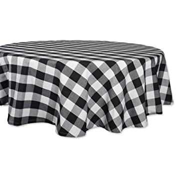 Merveilleux DII 70u0026quot; Round Cotton Tablecloth, Black U0026 White Buffalo Check   Perfect  For Fall
