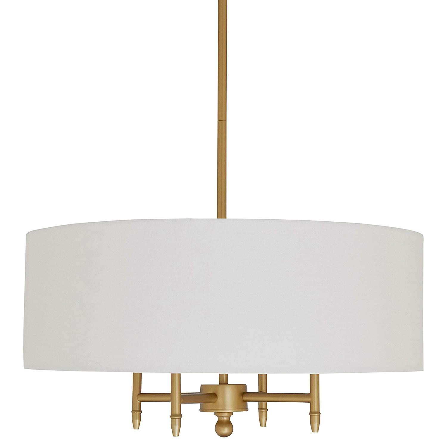 """Stone & Beam Classic 4-Arm Gold Chandelier, 42""""H, White Shade"""