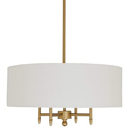 Stone Beam Classic 4-Arm Gold Chandelier, 42 H, White Shade