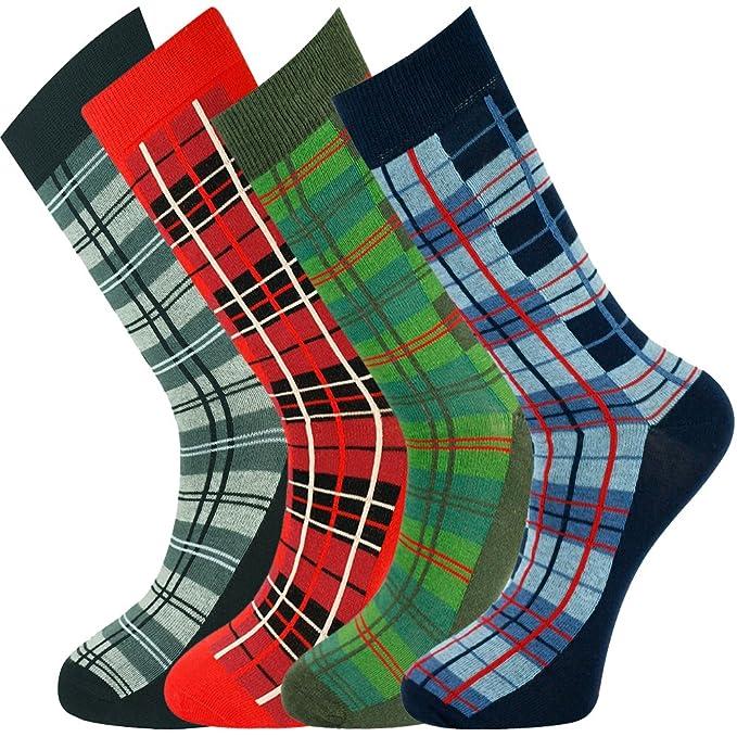 Mysocks® Calcetines para hombre de diseño tartán Calcetines de algodón peinado sin costuras V1Xta