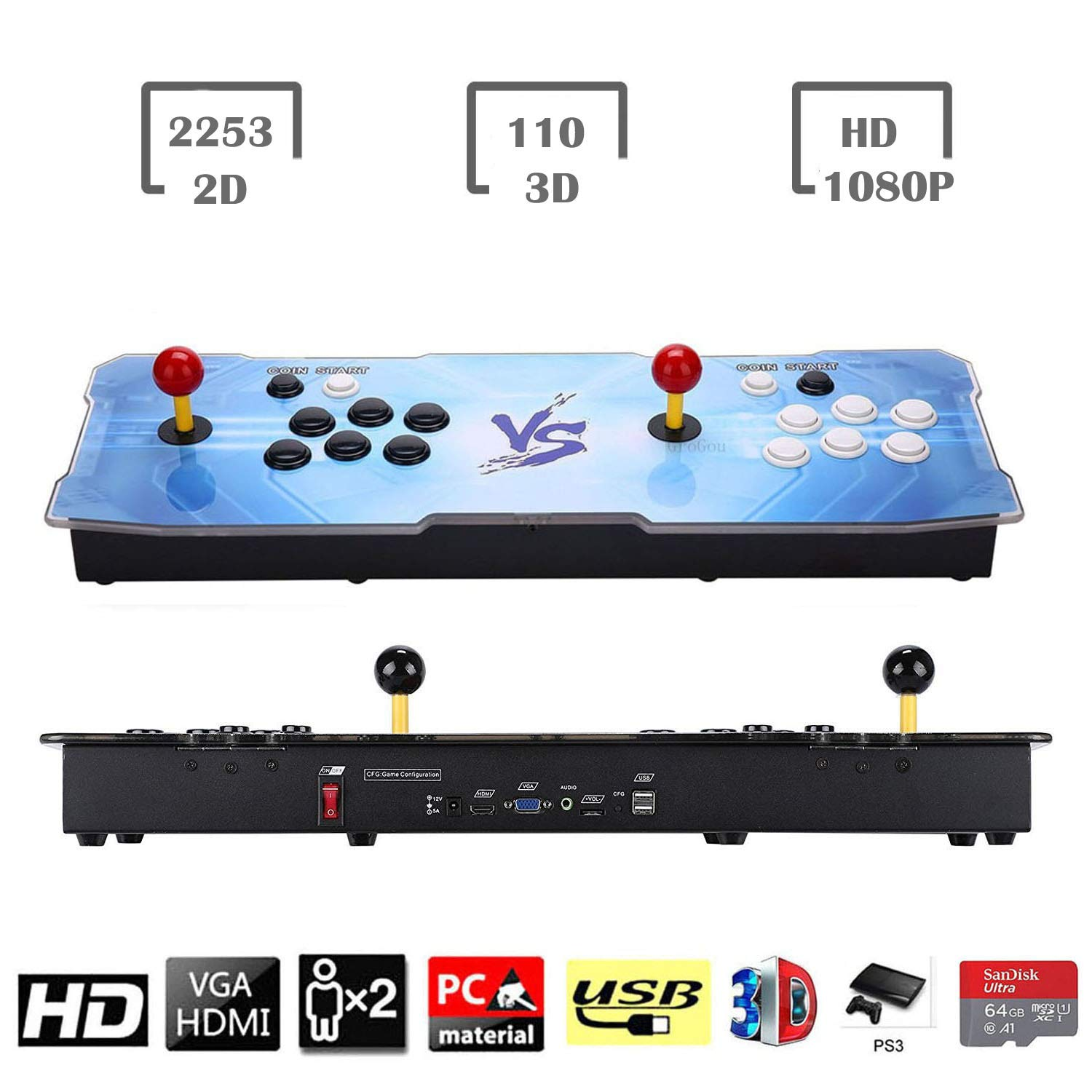 HAAMIIQII 3D Pandora Key 2363 Retro Arcade Game Console | Support 3D Games | Add More Games | Full HD (1920x1080) Video | 2 Player Game Controls | Support 4 Players | HDMI/VGA/USB/AUX Audio Output by HAAMIIQII (Image #1)