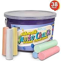 ArtCreativity 38 Colorful Chalk Pieces Jumbo Sidewalk Chalk Set for Kids