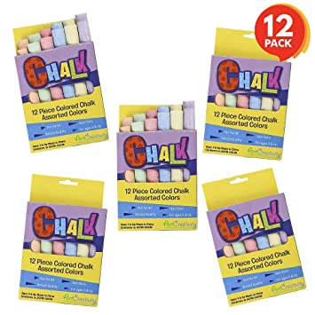 Fun Goody Bag Fillers Birthday Party Favors for Boys and Girls | Each Box Has 12 Blackboard Chalk Sticks 12 Boxes Non-Toxic Art and Craft Supplies ArtCreativity Mini Chalk Set for Kids