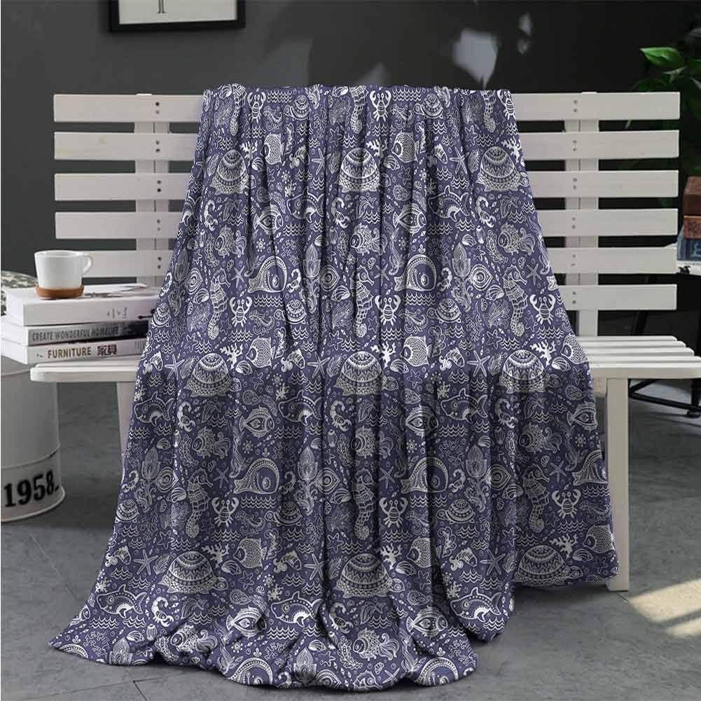 Luoiaax Underwater Bedding Fleece Blanket Queen Size Monochrome Ocean Theme All Season Premium Fluffy Blanket W40 x L60 Inch