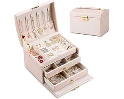 DEZZIE Women's Jewelry Box, Senior PU Leather, 3 Layer Medium Sized Jewelry Storage Box with Lock. Portable Travel Jewelry ca