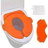 Asiento de orinal, cakie portátil reutilizable plegable orinal de viaje fundas de asiento de entrenamiento con bolsa de transporte para bebés y niños, niños y niñas (naranja)
