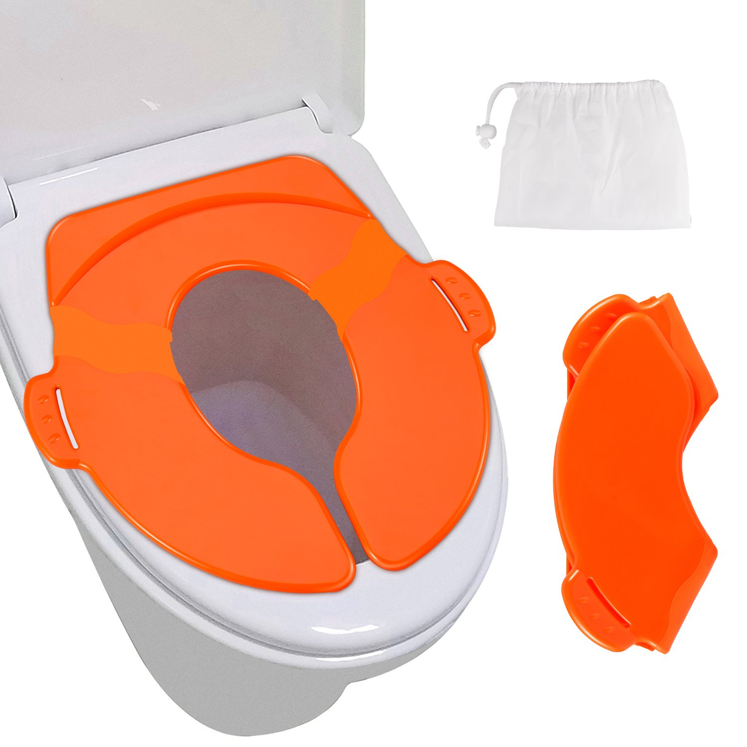 Potty Training seat, Cakie Portable Folding Reusable Travel Potty Training Seat Covers with Carry Bag for Toddlers and Kids, Boys and Girls(Orange)