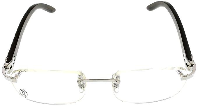 9e183deb4d4a Amazon.com  Cartier Prescription Eyeglasses Frame Wood T8100864 Rimless   Clothing