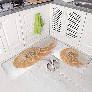 Set di 2 tappetini da cucina antiscivolo con stampa 3D, con ...