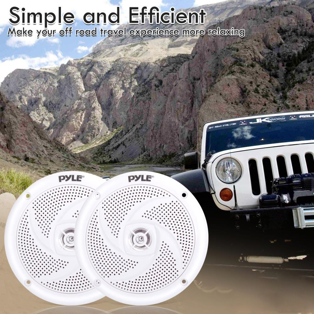 PLMRS5W Pyle Marine Speakers 5.25 Inch 2 Way Waterproof and Weather Resistant Outdoor Audio Stereo Sound System with 240 Watt Power and Low Profile Slim Style White 1 Pair
