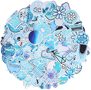 Max Fun 106pcs Waterproof Stickers Packs for Kids Party Favors Water Bottle Laptop Envelopes Gifts Tags Crafts Windows Phone Luggage Snowboard (Blue)