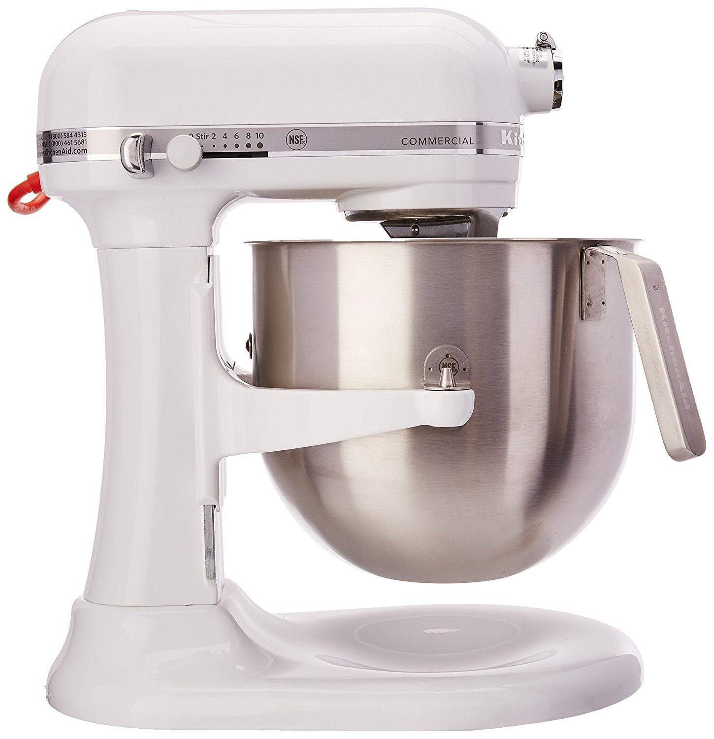 KitchenAid RKSM8990WH 8-Quart Refurbished Commercial Countertop Mixer, 10-Speed, Gear-Driven, White