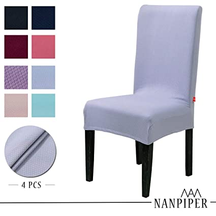 Amazing Nanpiper Chair Covers For Dining Room Set Of 4 Grey Spandex Stretch Dining Chair Slipcovers Uwap Interior Chair Design Uwaporg