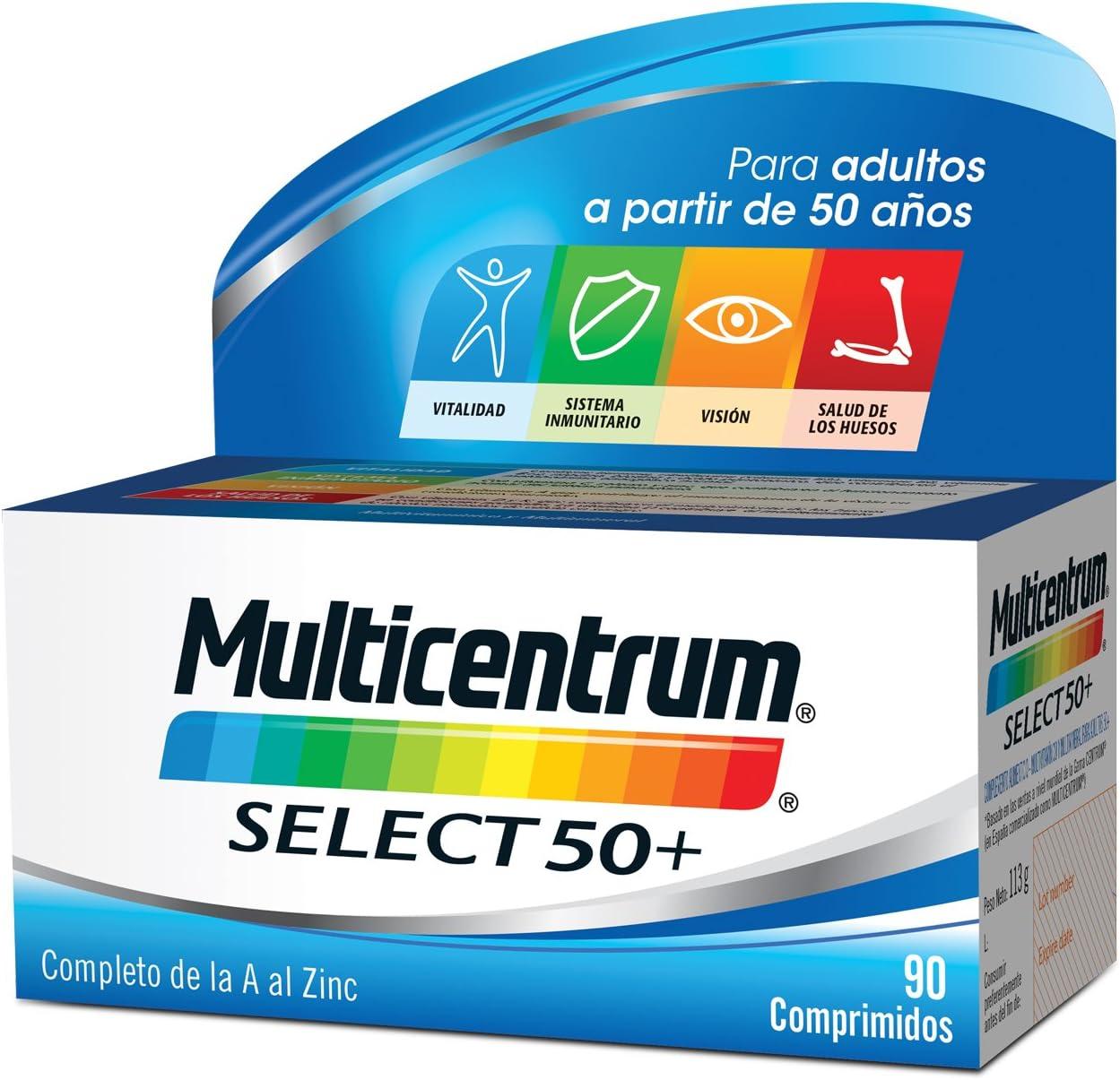 Multicentrum Adulto 50+ Complemento Alimenticio con 13 Vitaminas y 11 Minerales   Con Vitamina B1, Vitamina B6, Vitamina B12, Hierro, Vitamina D, Vitamina C   90 Comprimidos