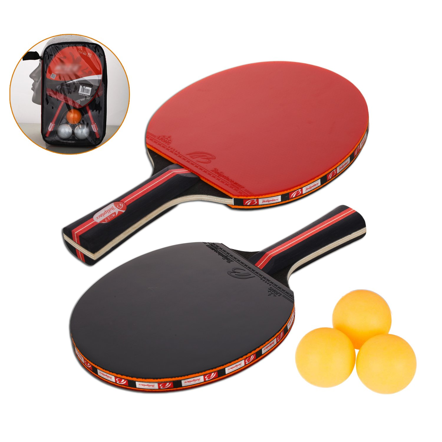 Amaza Table Tennis set, 2 Table Tennis Bats and 3 Ping Pong Balls with Carry Bag for Outdoor Indoor Sports Activities Amateurs Beginners