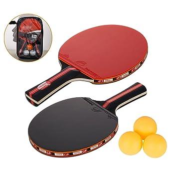 buy online 5c23a e12ff Amaza Raquette De Ping Pong Professionnel avec Sac Portable - 2 Pieces  Raquettes de Tennis de