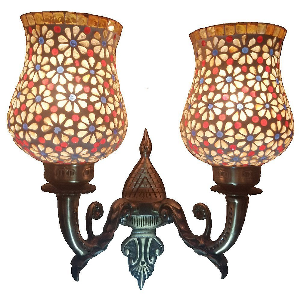 Weldecor Metal Floral Wall Lamp (Multicoloured)