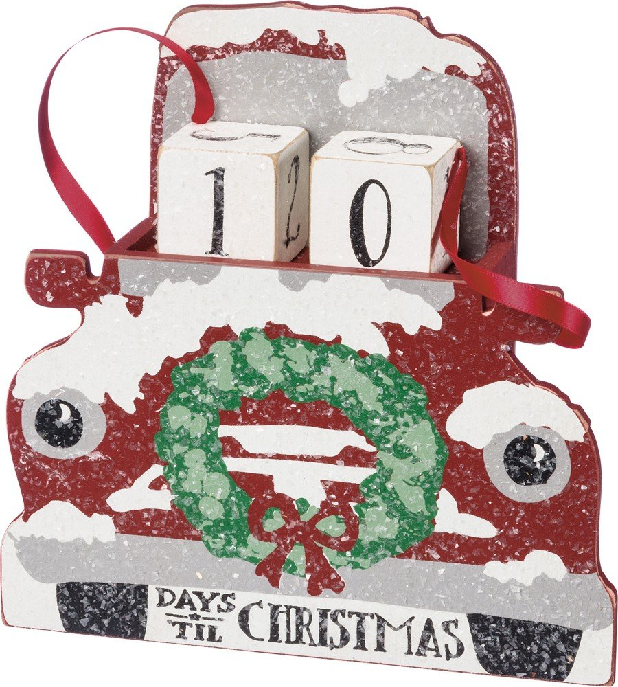 Primitives by Kathy Red Truck With Wreath Advent Calendar 6.5'' x 6.5'' x 1.75'' by Primitives by Kathy