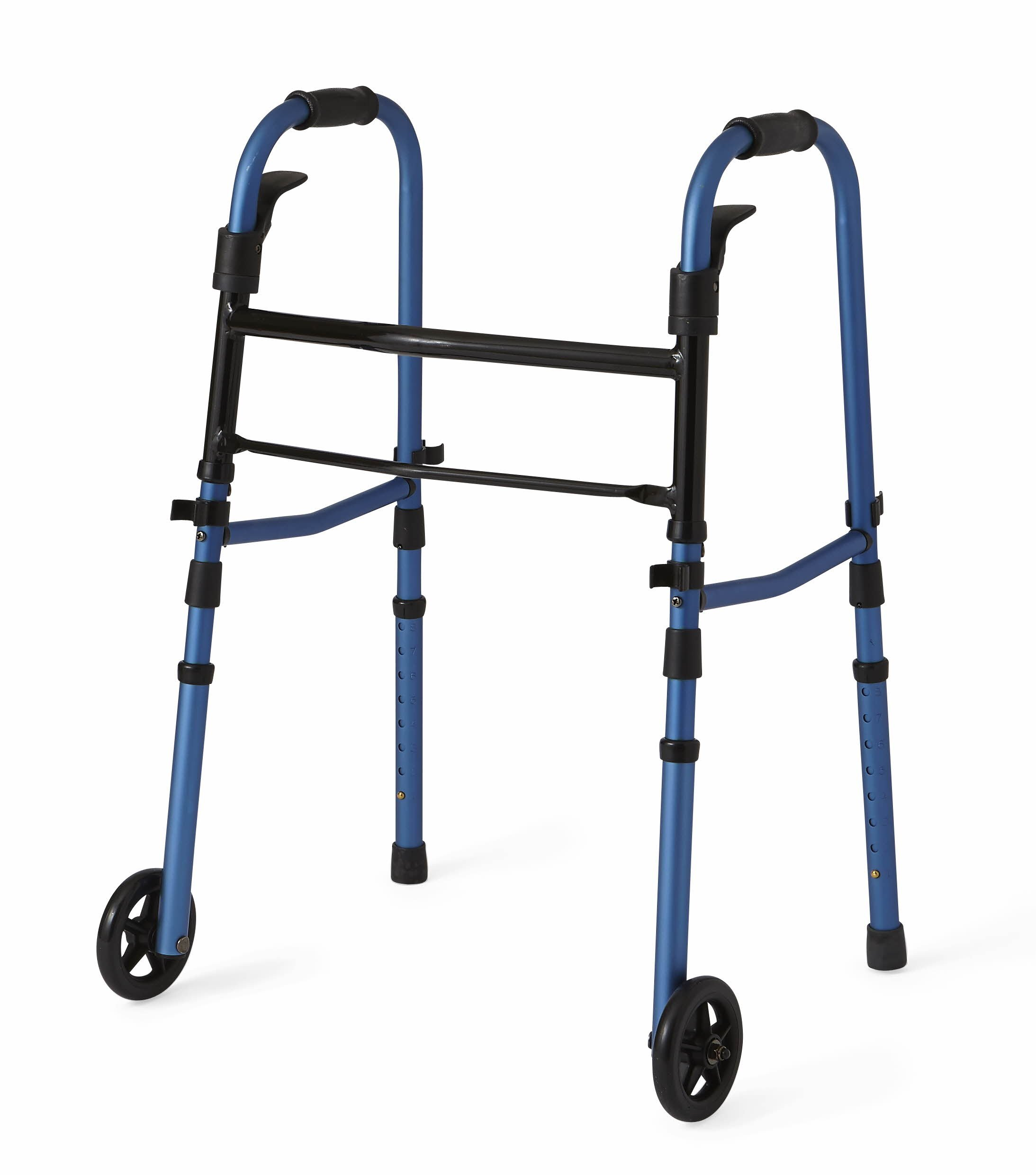 Medline Compact Folding Paddle Walker with Wheels, Blue, 5 inch by Medline