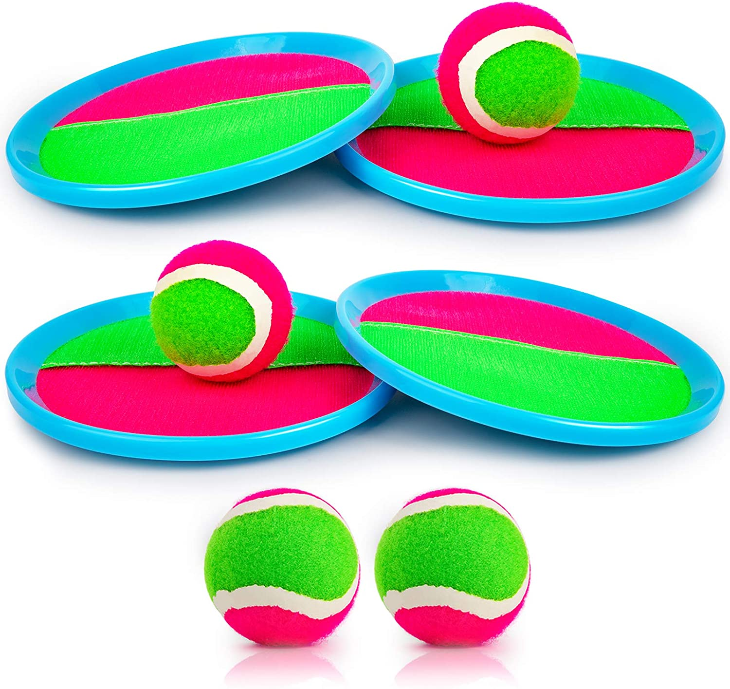 Aneco Paddle Toss and Catch Ball Set Toys Self Stick Paddle Game for Sports 6 Paddles and 6 Balls Beach with Storage Bag