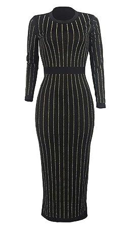 Yyear Womens Long Sleeve Winter Crewneck Tunic Slim Fit Striped
