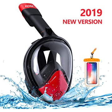EVOLAND Snorkel Mask Full Face for Adults Kids Youth, Diving Snorkeling Mask Anti-Fog Set with 180° View, GoPro Mount, Easy Breath Dry Top Design, Adjustable Head Straps