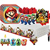 Super Mario Bros Birthday Party Pack for 16 with Plates, Napkins, Cups, Tablecover, and Candles!