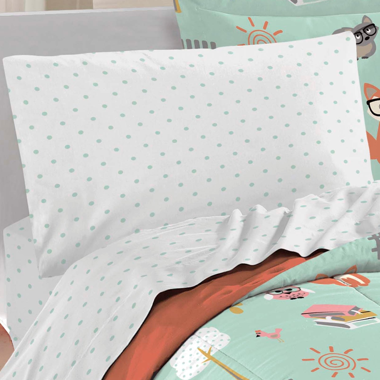 dream FACTORY Casual Woodland Friends Comforter Set, Twin, Green by dream FACTORY (Image #2)