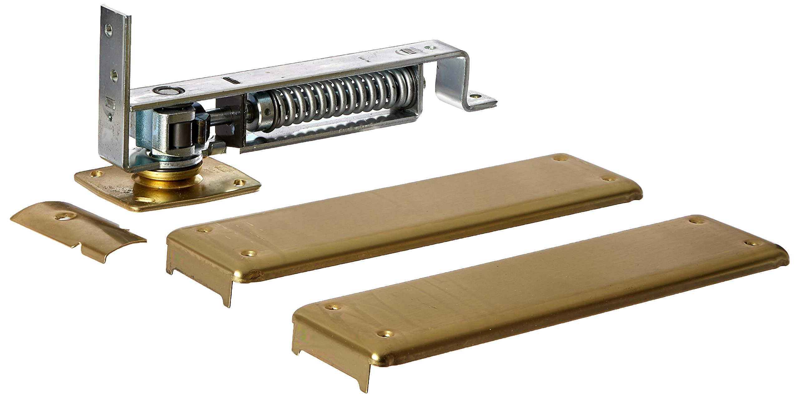 Bommer 7800 Series Cast Steel Horizontal Type Medium Duty Spring Pivot with Floor Plate, Steel Side Plate, 1.37''-1.75'' Door Thickness, Satin Chrome Finish