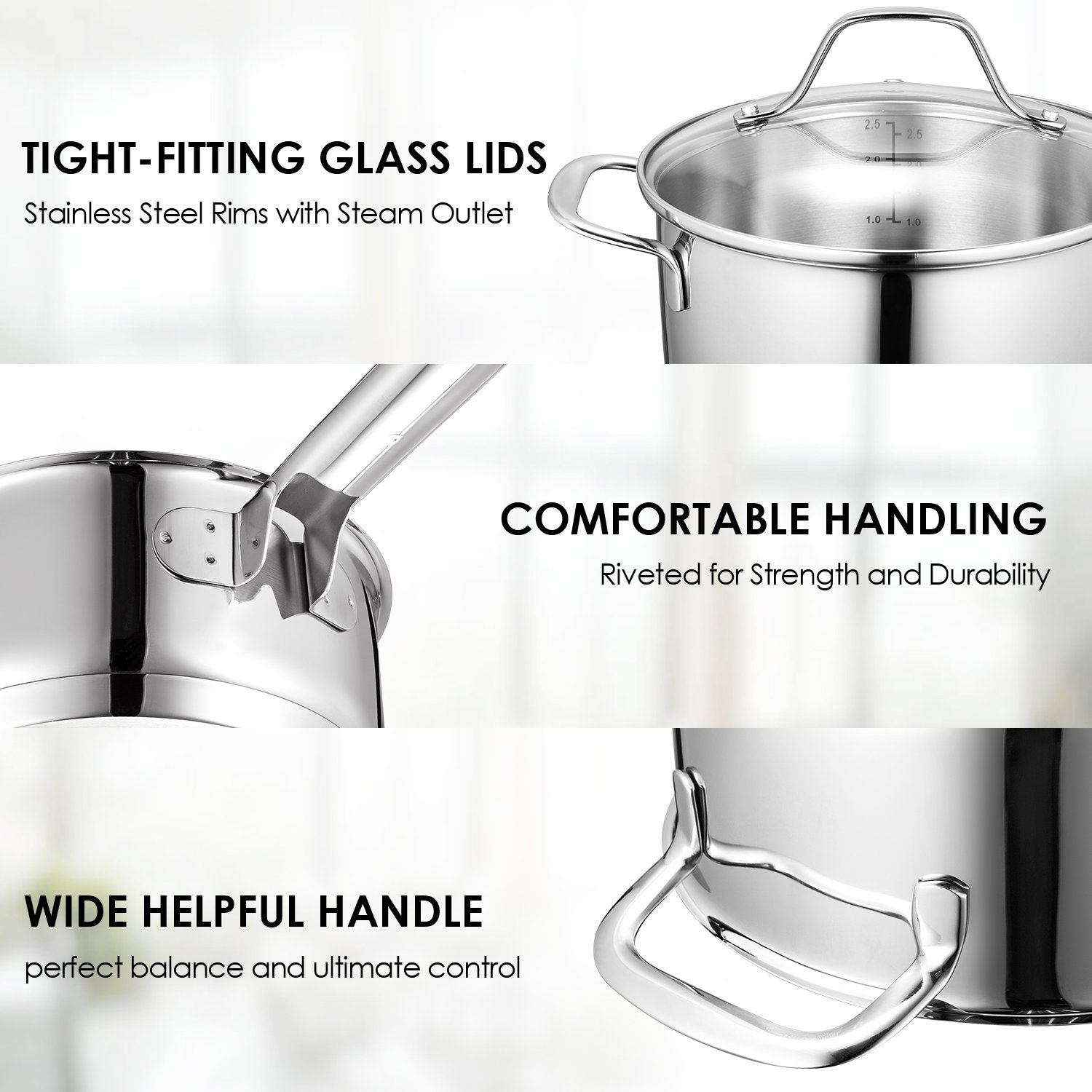 Deik Cookware Set, Kitchenware Set, MultiClad Pro Stainless Steel 12-Piece Pots and Pans Set, Rustproof & Oven-Safe Cooking Pots, PFOA Free & Riveted Handles with a Bonus of Oven Mitts by Deik (Image #2)