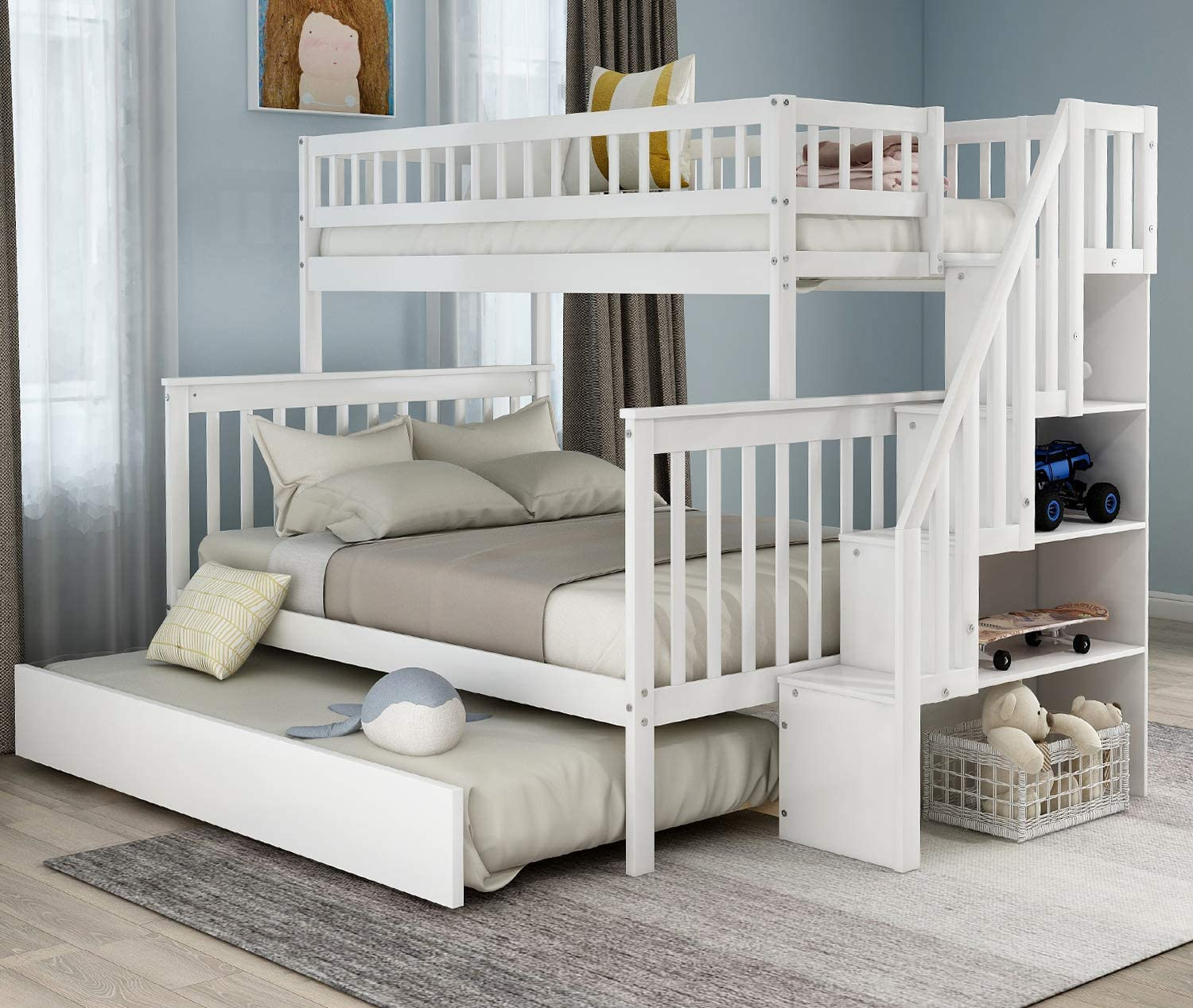 STARTOGOO Solid Wood Twin Over Full Trundle, Bunk Beds for Kids with Storage, Stairs and Guard Rail, No Spring Box Needed (White)