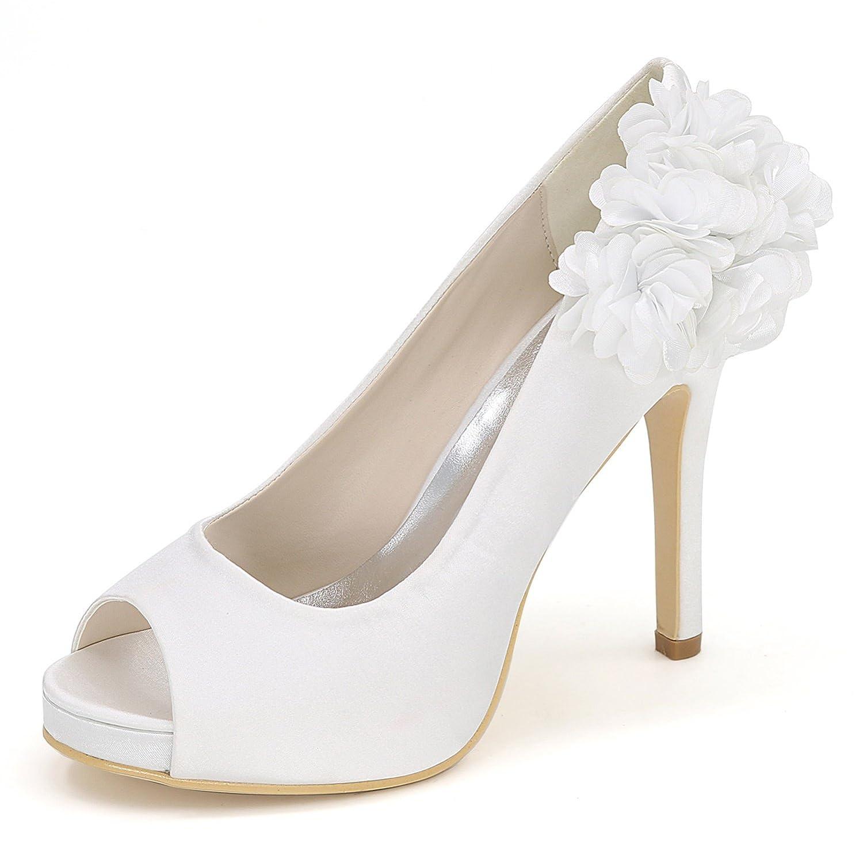 Blanc Eleboeb Femmes Chaussures De Mariage Bout Rond éLéGant Talons Hauts Parti Peep Toe Plate-Forme   11cm Talon Satin