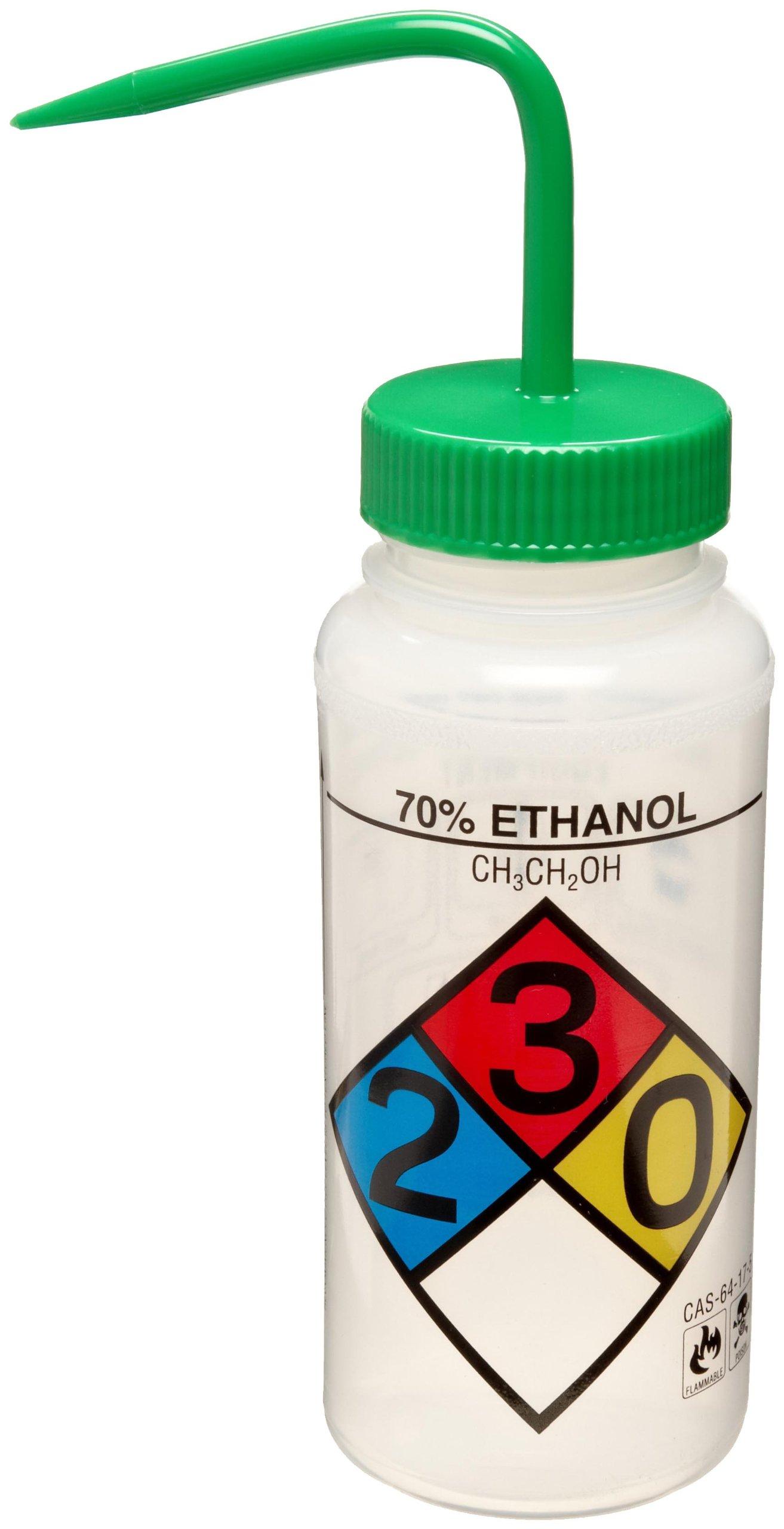 Bel-Art Safety-Labeled 4-Color 70% Ethanol Wide-Mouth Wash Bottles; 500ml (16oz), Polyethylene w/Green Polypropylene Cap (Pack of 4) (F11716-0020)