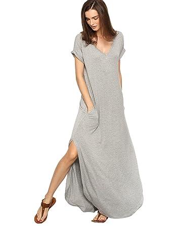 39b2866d746 Verdusa Women s V Neck Side Pockets Split Hem Beach Long Maxi Dress A Grey  XS