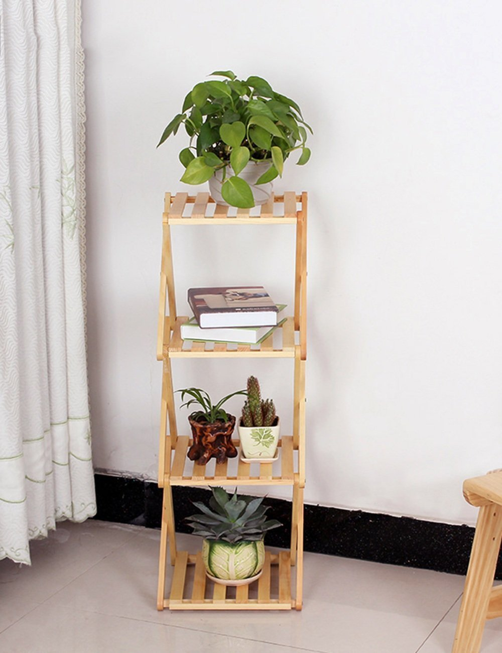 HOMEE Flower Rack Flower Racks Decorative Frame Floor Style Fold Household Shelves Solid Wood Bookcase Living Room Balcony Multilayer Shelves --Home Environment Decorations