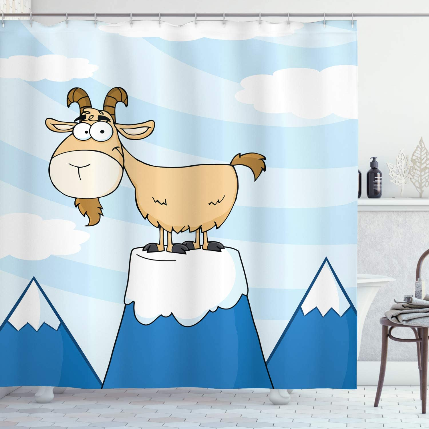 Abakuhaus Goat Shower Curtain Doodle Cartoon Goat Smiling And Standing On Top Of Mountain Pick Digital Illustration Cloth Fabric Bathroom Decor Set With Hooks 78 Inches Multicolor Amazon Co Uk Kitchen Home
