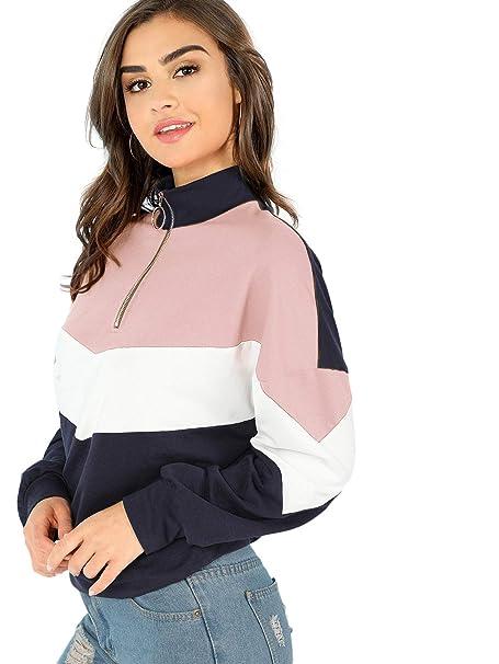 b2572f6e37 DIDK Mujer Sudadera Moda V-Cuello Pullover Blusa Cremallera Crop Tops  Camiseta T-Shirt Otoño Invierno Camisetas De Manga Larga  Amazon.es  Ropa y  accesorios