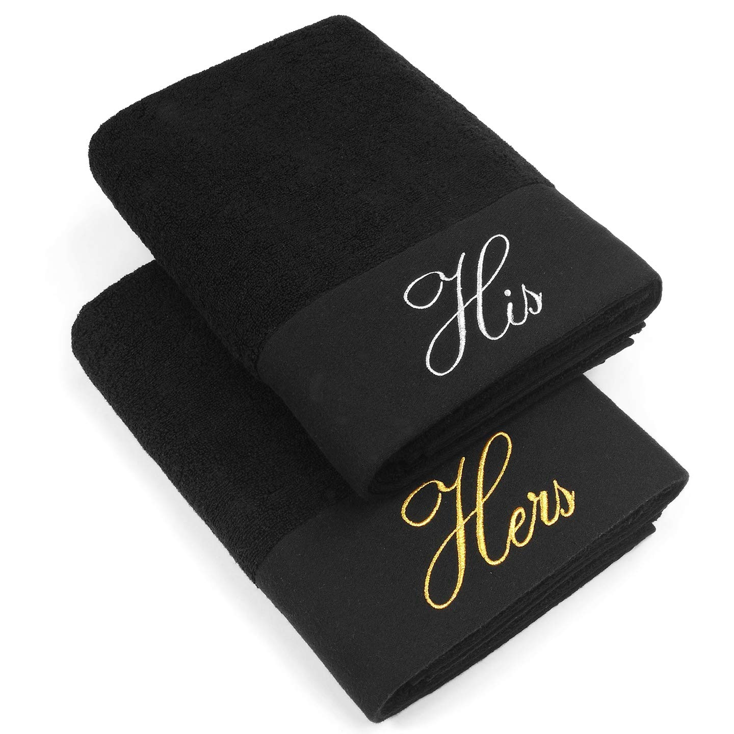 Kaufman - Luxurious Couples Embroidered Bath Sheet Set of 2 Large Towels for Partners (Black - His and Hers)