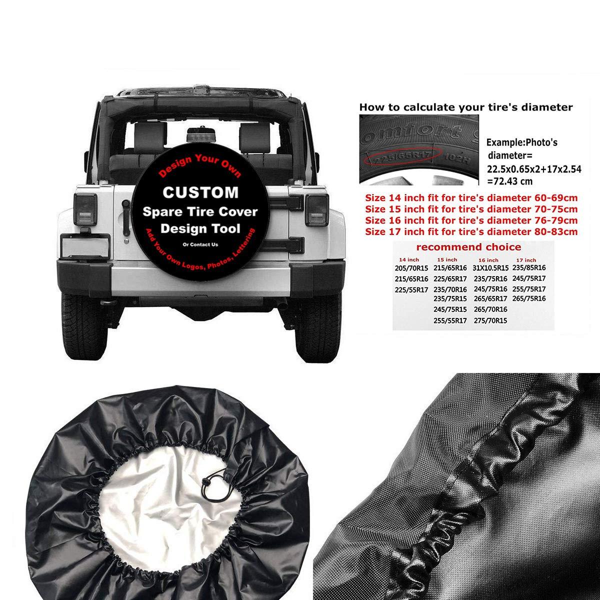 MichelleSmithred Custom Spare Tire Cover for Jeep RV Camper Trailer 14-17 Inchs