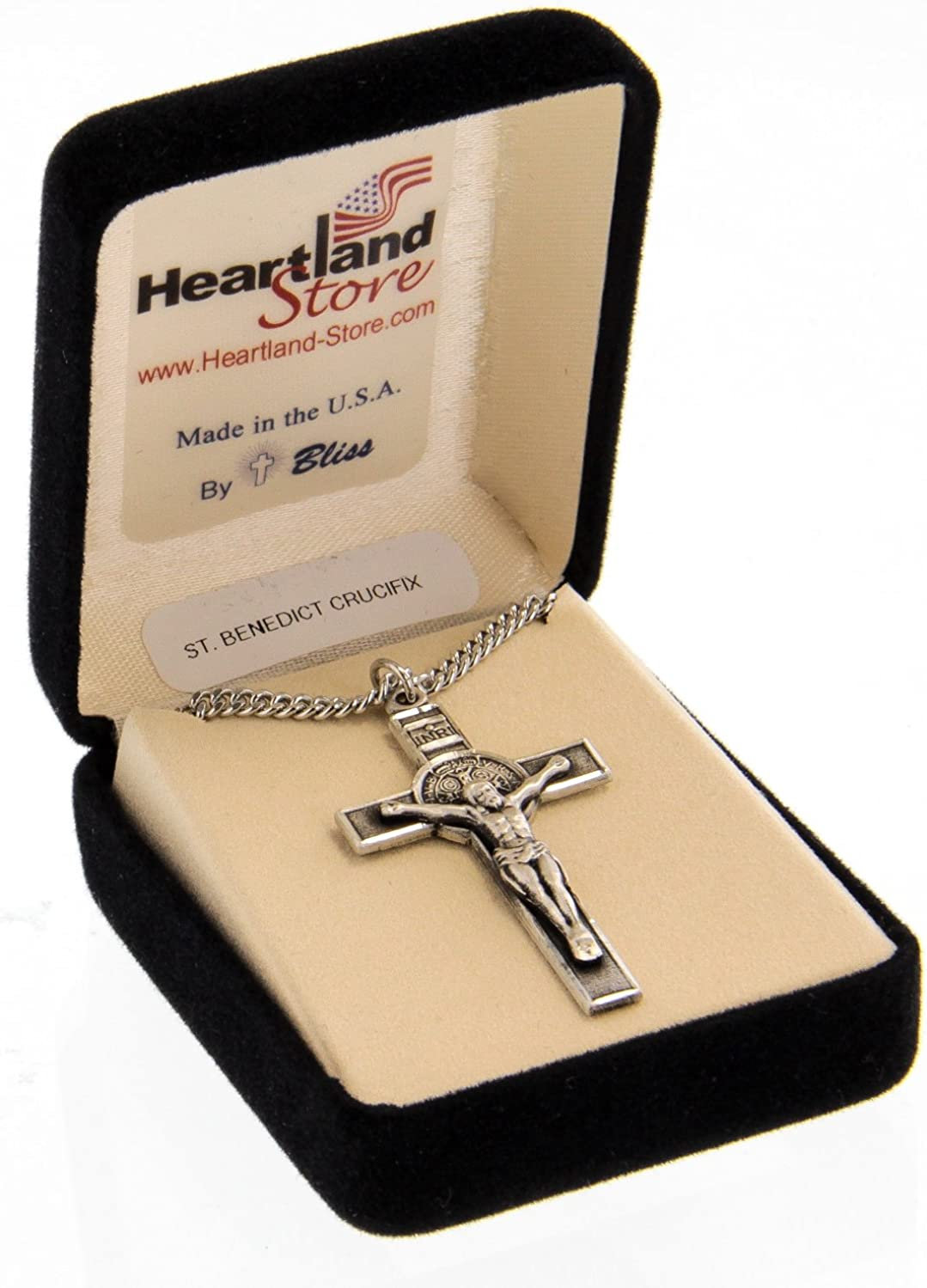 Heartland Mens Sterling Silver St Benedict Crucifix Pendant USA Made