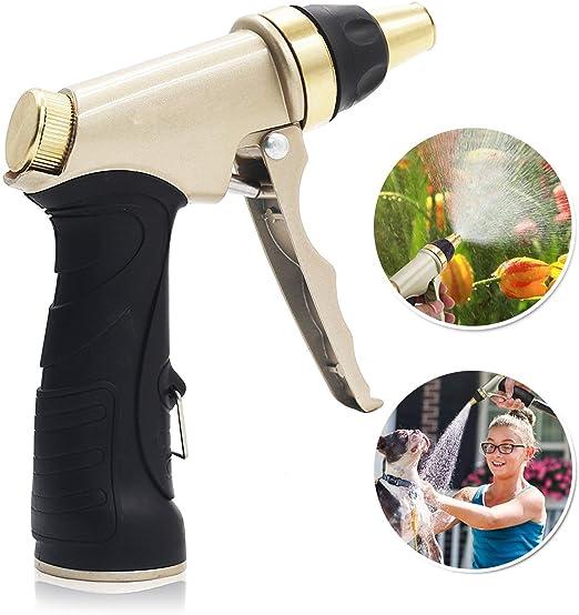 Uni-Wert Pistola de Riego Pistola para Manguera de Jardín Alta Presión Pistola Pulverizadora - Metal 100% - Regulable del Caudal de Agua para Lavado de Coches, Riego de Jardín Césped: Amazon.es: Jardín