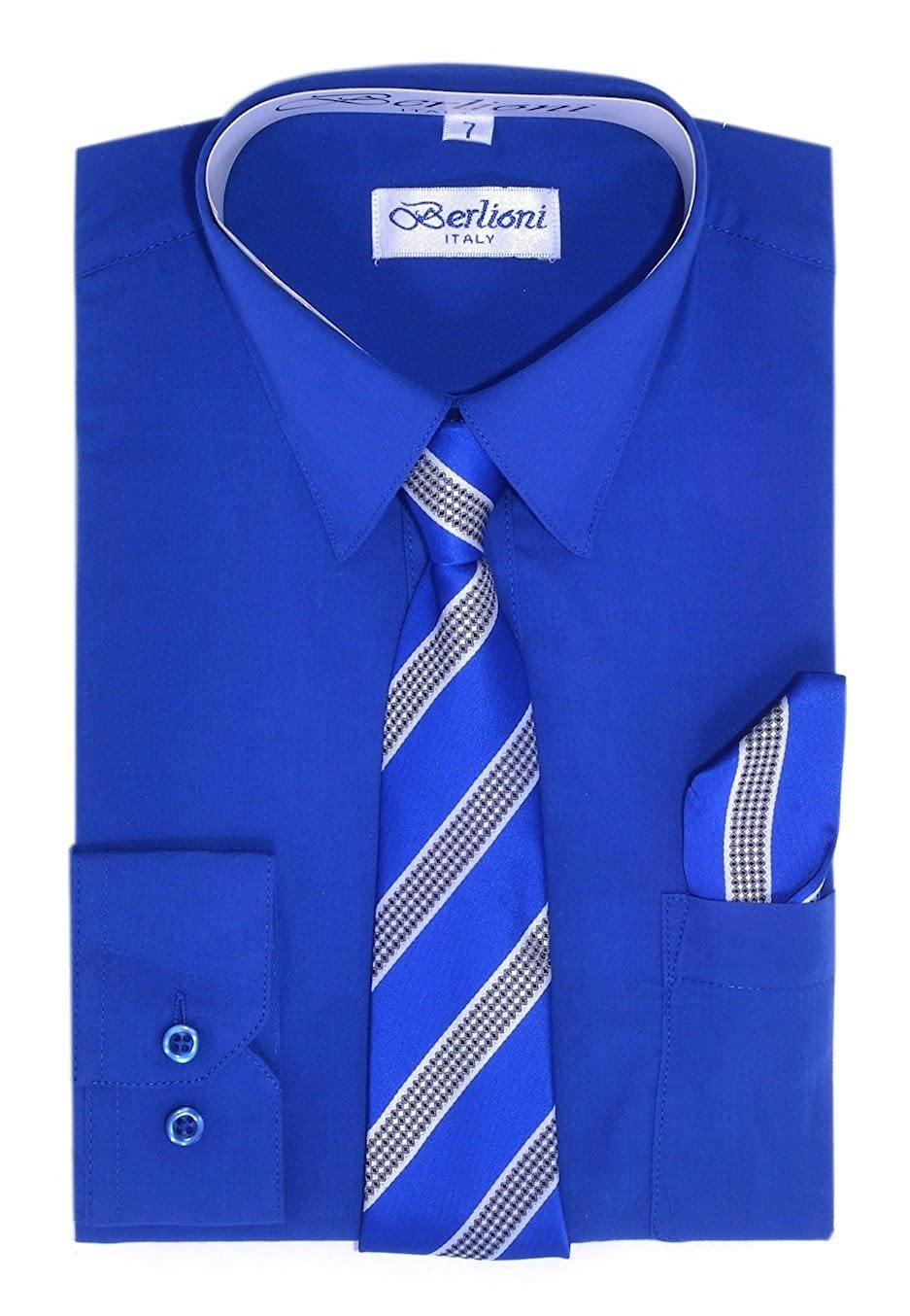 Boy's Dress Shirt, Necktie, and Hanky Set - Royal Blue, Size 14 Boy' s Dress Shirt 700A-RYLBLUE-14