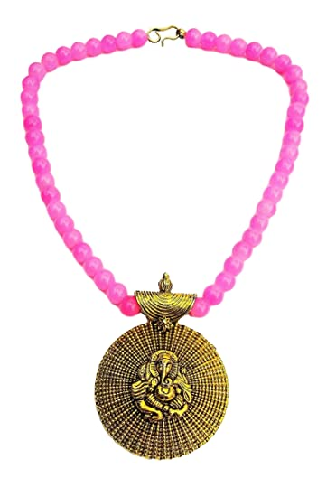 Athizay Golden Ganesha Pendant with pink moti beads Large Pendant for Women Fashion Choker Necklace for Women and Girls