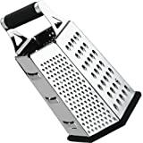 Cheese-Grater-Vegetable-Slicer Stainless Steel - 6-sides , 9.5 Inch Height, Rubber Handle, Non Slip Rubber Bottom by Utopia Kitchen