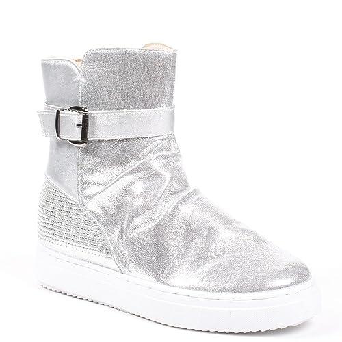 Ideal Shoes Botines Materiales con Parte nacarada y Strassée ornelia, (Plata), 38: Amazon.es: Zapatos y complementos