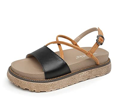 591e7e675 DANDANJIE Women Sandals Girls College Medium Heel Rome Fashion Casual Comfortable  Shoes Thick-soled Sandals